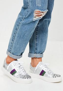 Silver Studded Toe Cap Trainers