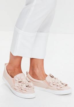 Pink Flower Slip On Sneakers
