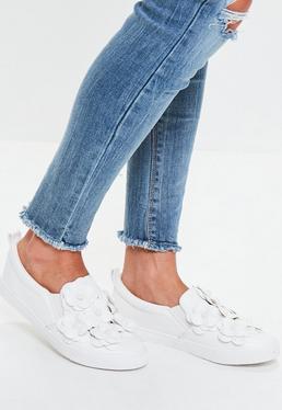 White Flower Slip On Sneakers