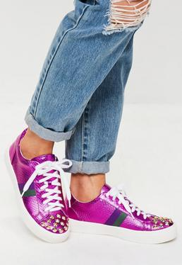 Fuchsia Studded Toe Cap Sneakers
