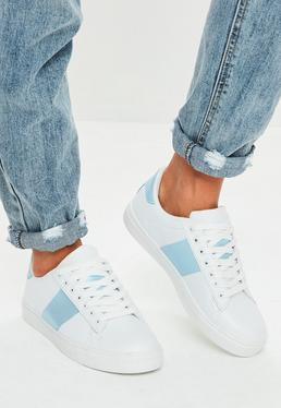 Blue Stripe Lace Up Trainers