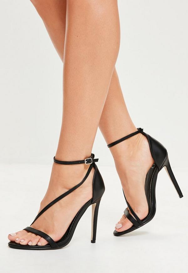 Black Asymmetric Strappy Sandals