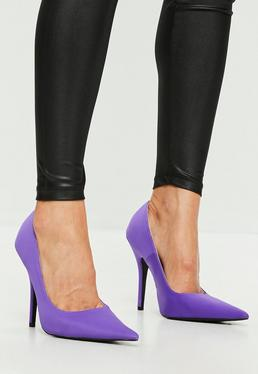Fioletowe klasyczne buty na szpilce