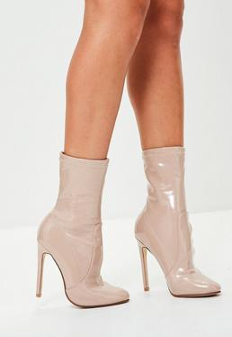 Nude Vinyl Heeled Ankle Boots