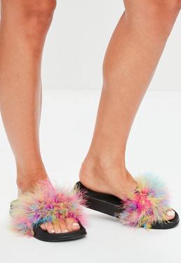 Black Multi Feather Sliders