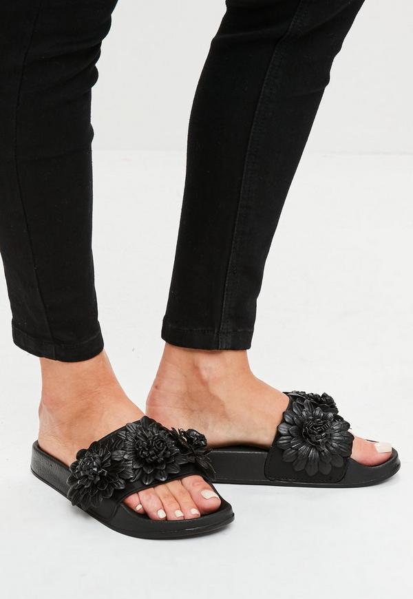 Black Flower Strap Sliders