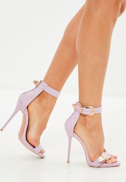 Sandalias de tacón fino con hebilla en rosa