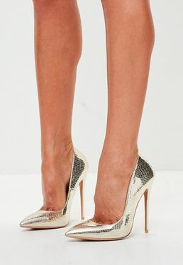 Peace + Love Gold Crocodile Effect Pumps