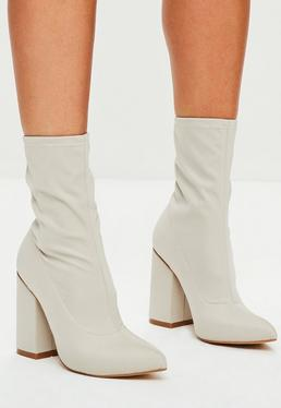Nude Block Heel Pointed Neoprene Boots
