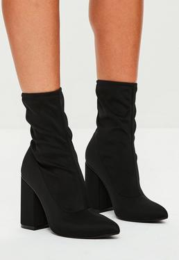 Black Block Heel Pointed Neoprene Boots