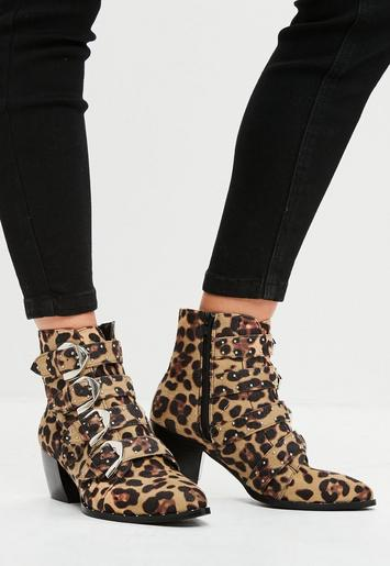 Brown Leopard Print Studded Strap Ankle Boots Missguided