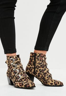 Brown Leopard Print Studded Strap Ankle Boots