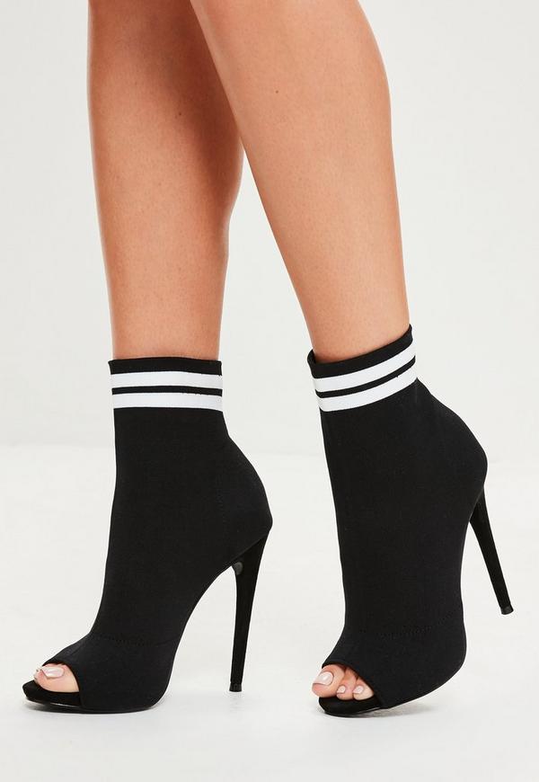Black Peep Toe Sock Ankle Boots