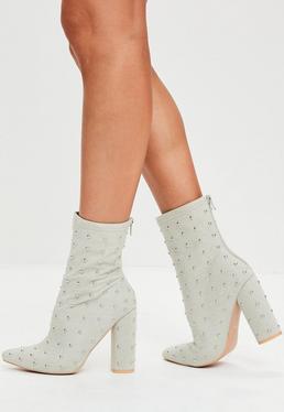 Grey Denim Studded Boots