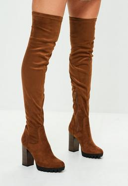 Tan Faux Suede Pleated Sole Over The Knee Boots