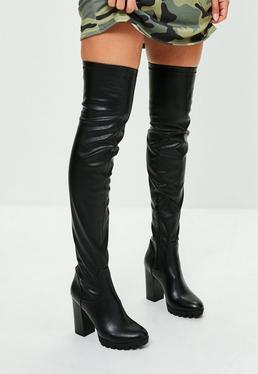 Czarne skórzane kozaki za kolano