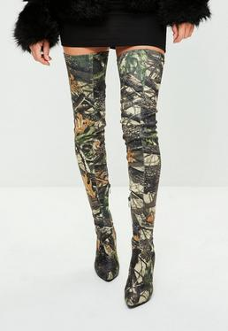 Khaki Leaf Printed Thigh High Pointed Shoes
