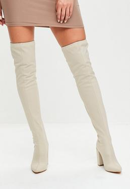 Cream Neoprene Over The Knee Boots