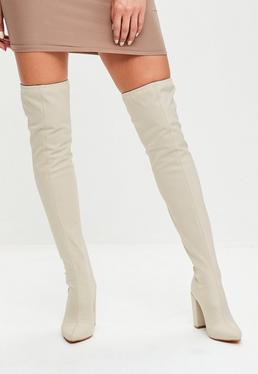 Cream Neoprene Over The Knee Boots