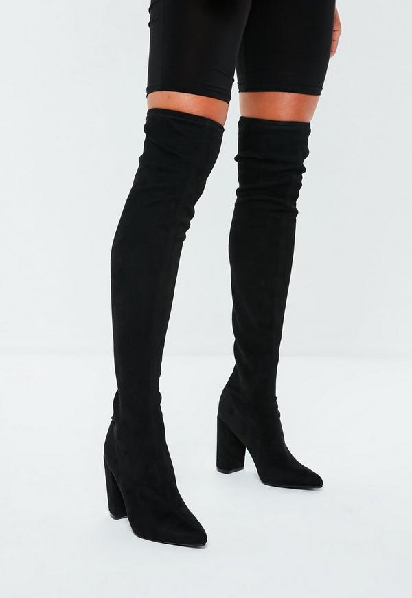 black faux suede over the knee boots missguided. Black Bedroom Furniture Sets. Home Design Ideas