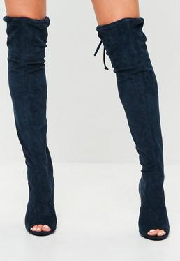 Navy Faux Suede Over The Knee Boots