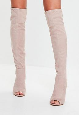 Nude Peep Toe Knee High Boots