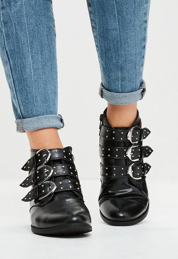 schwarze nieten ankle boots mit rosen missguided. Black Bedroom Furniture Sets. Home Design Ideas