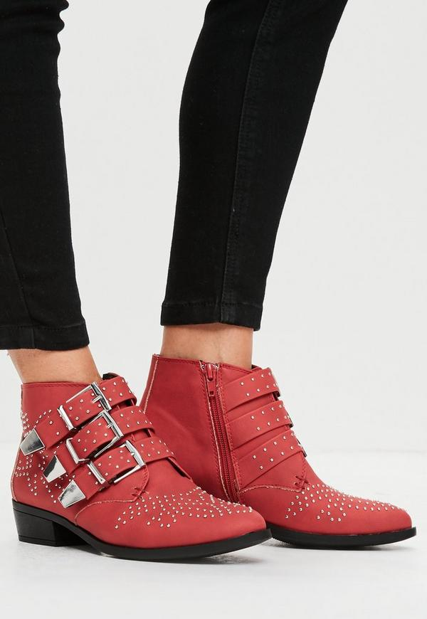 Red Studded Buckle Ankle Boots