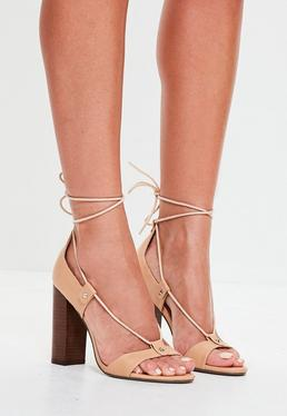 Nude Ghillie Block Heel Sandals