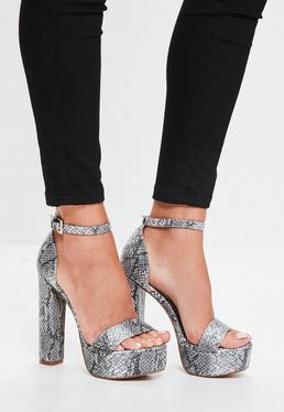 Grey Snake Print Platform Heeled Sandals