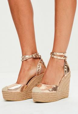 Rose Gold Metallic Heeled Espadrilles