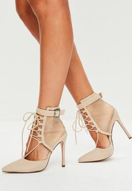 Nude Lace Up Mesh Pointed Heels