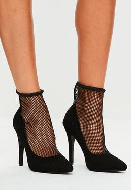 Black Fishnet Pointed Court Shoes