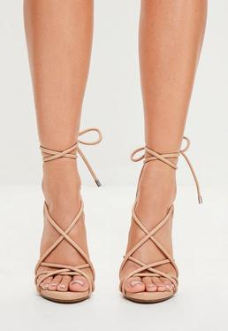 Nude Rounded Strap Gladiator Heeled Sandals