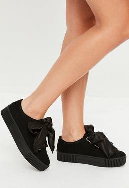 Black Faux Suede Platform Sneakers