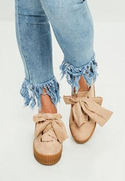 Nude Faux Suede Platform Trainers