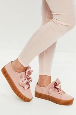 Pink Faux Suede Platform Trainers