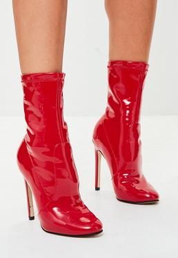 Red Vinyl Ankle Boots