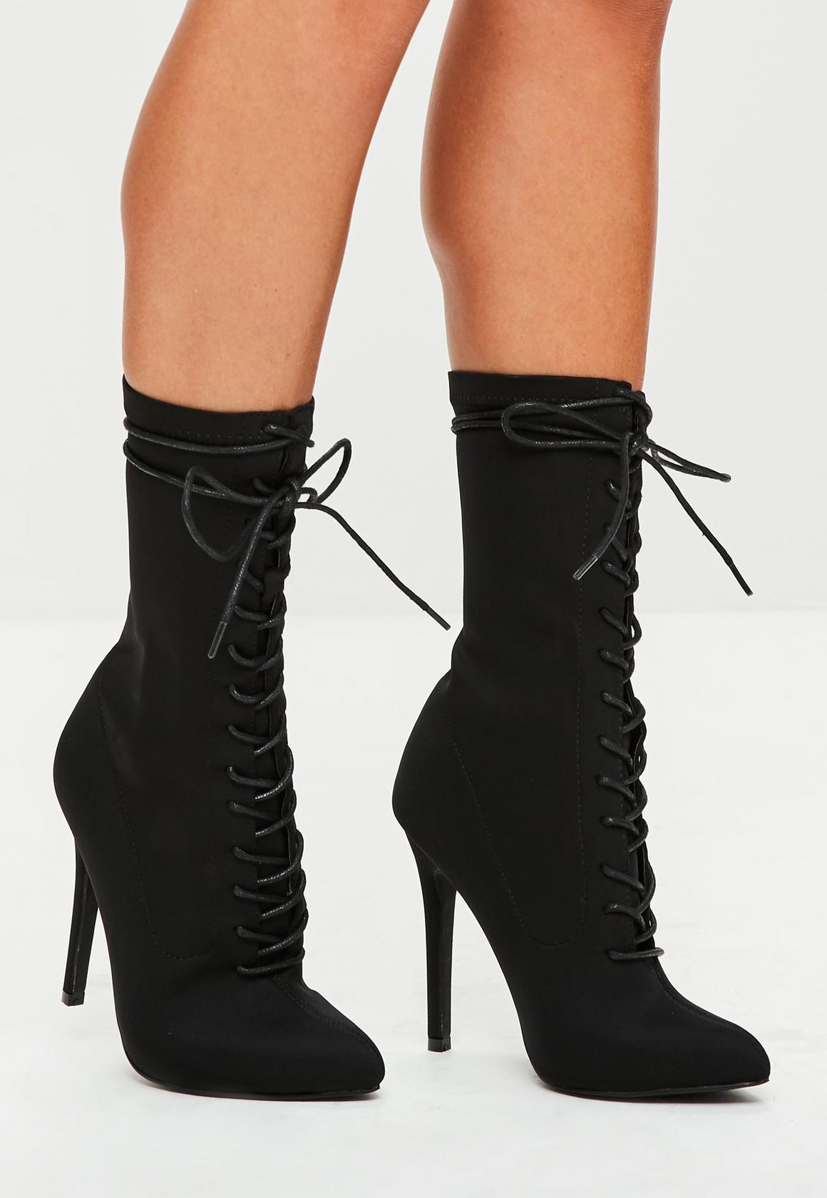 bottines noires pointues à lacets | missguided