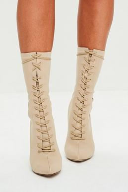 Nude Corset Lace Up Pointed Boots