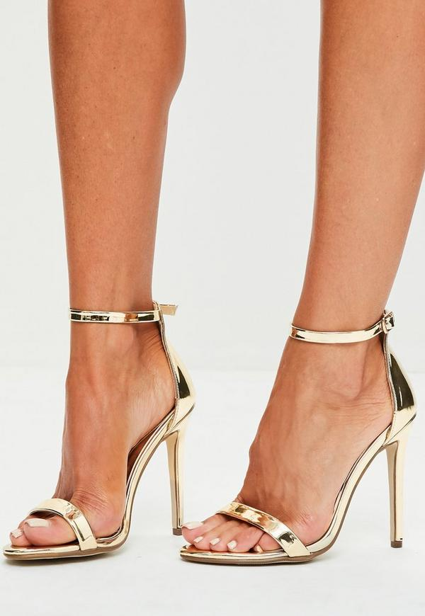 Gold Two Strap Barely There Heels Missguided