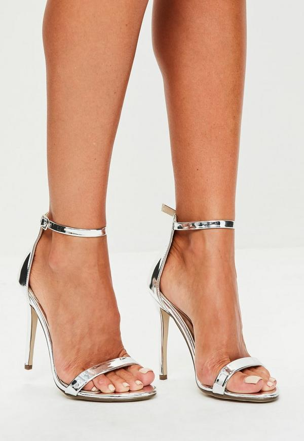 silver two strap barely there heels missguided australia