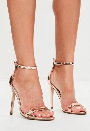 Rose Gold Two Strap Barely There Heels Missguided