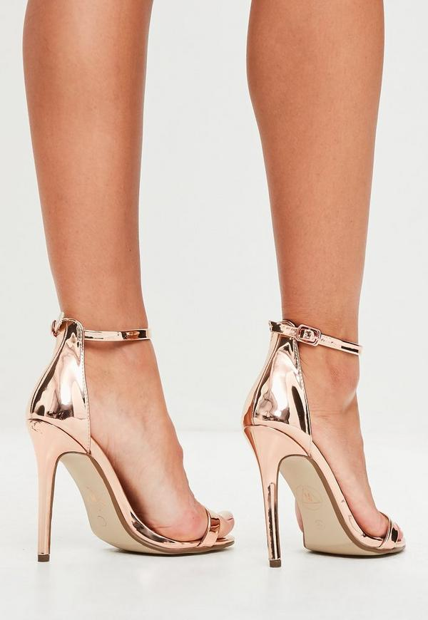 002f0c978d1 Rose Gold Two Strap Barely There Heels