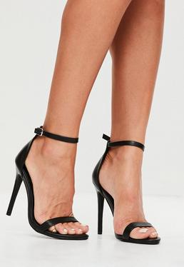 Black 2 Strap Barely There Sandals