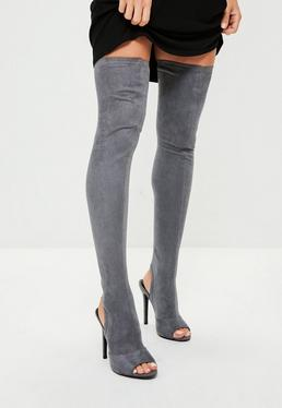 Grey Peep Toe Over The Knee Boots