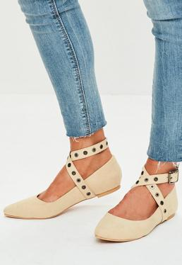Beige Pointed Eyelet Flats