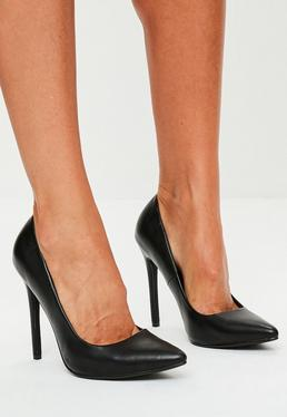 Black Faux Leather Court Shoes