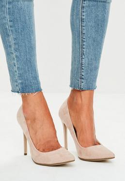 Beżowe zamszowe buty szpilki