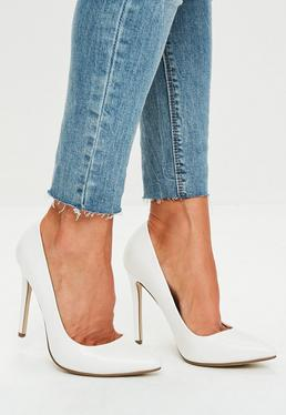 White Faux Leather Court Shoes